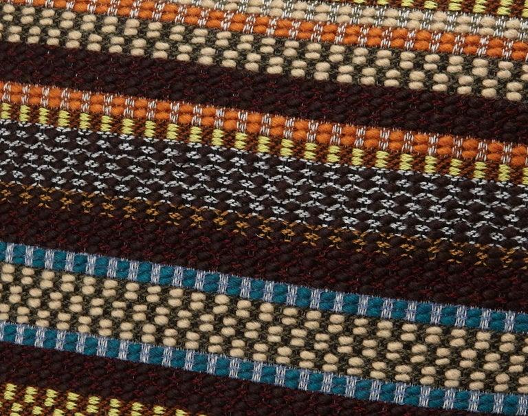 Italian MissoniHome Volfango Cushion in Multicolor Striped Wool with Fringe Trim For Sale