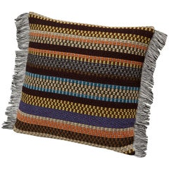 MissoniHome Volfango Cushion in Multicolor Striped Wool with Fringe Trim