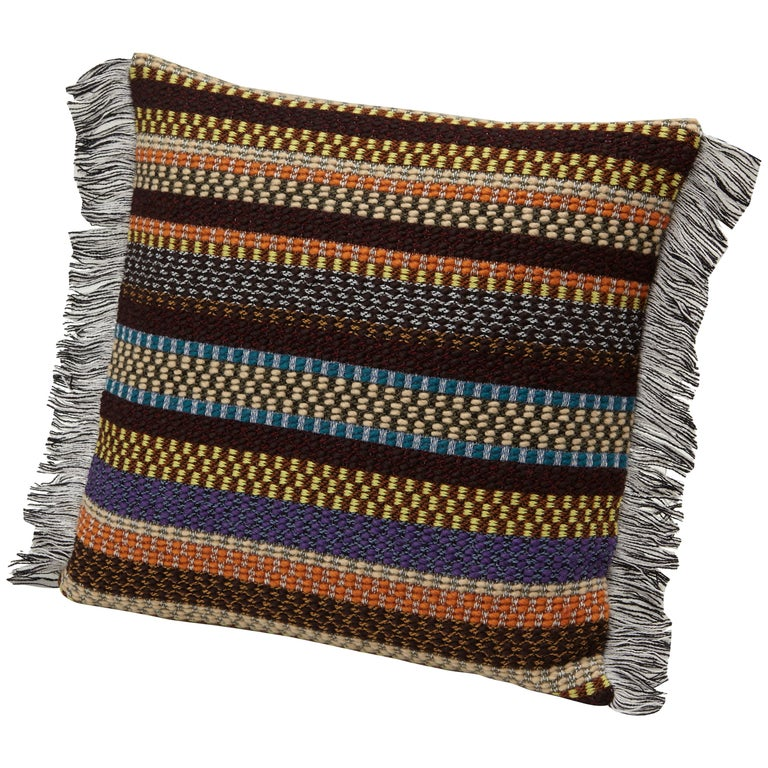 MissoniHome Volfango Cushion in Multicolor Striped Wool with Fringe Trim For Sale