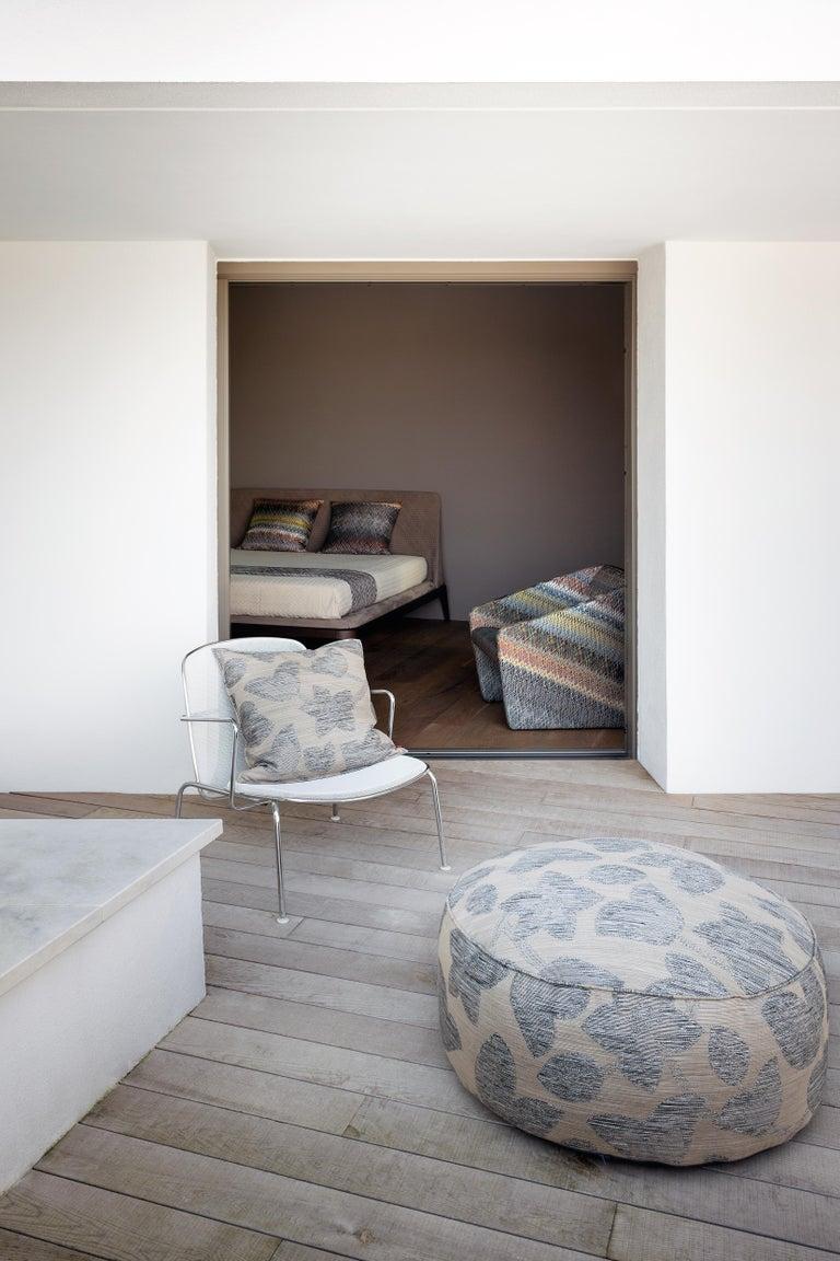 Italian MissoniHome Wachau Yarn-Dyed Fabric Cushion with Flower Motif For Sale