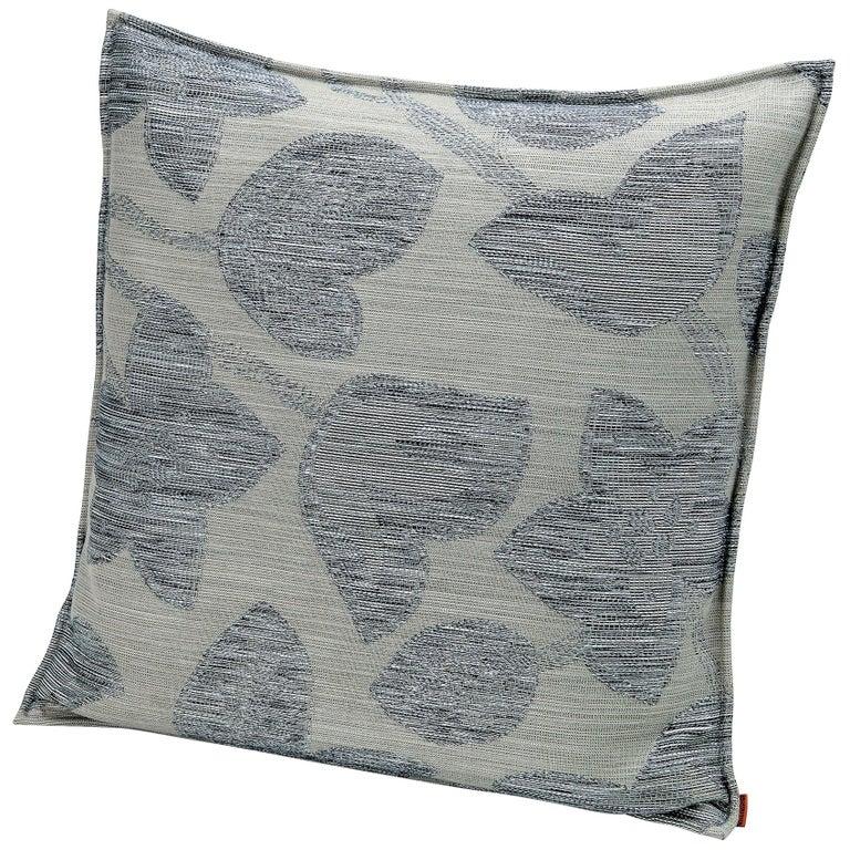 MissoniHome Wachau Yarn-Dyed Fabric Cushion with Flower Motif For Sale