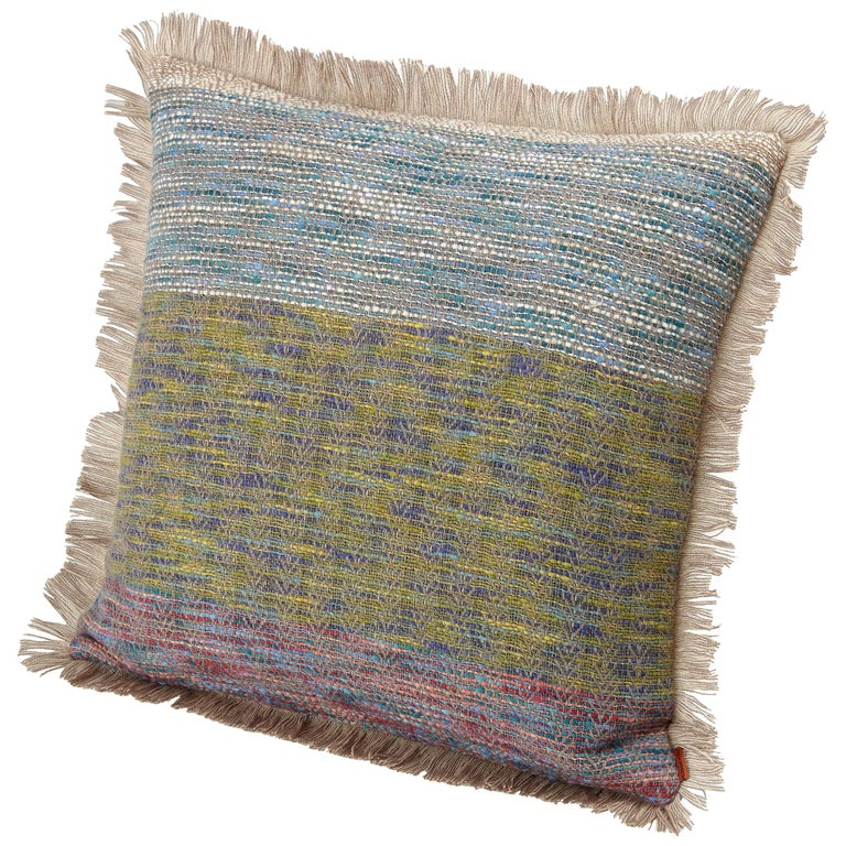 Missonihome Waldo Reversible Wool Jacquard Cushion with Large Stripes For Sale