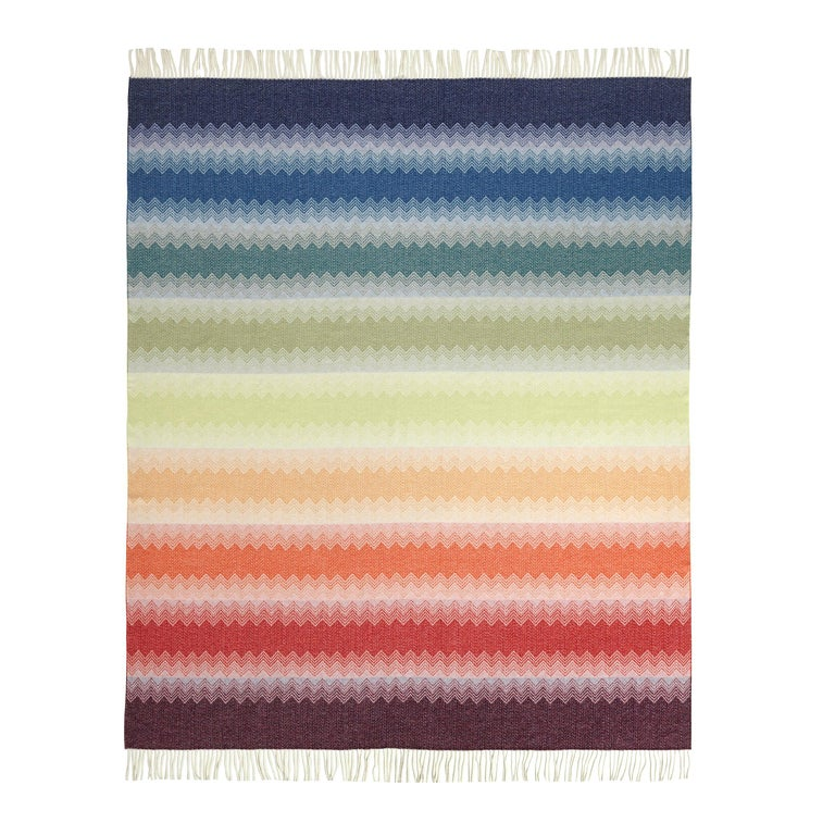 MissoniHome Walt Chevron Wool Jacquard Throw with Rainbow Effect For Sale