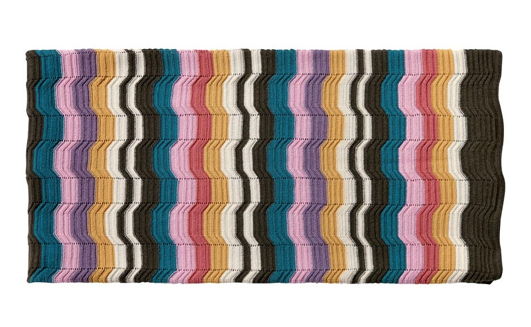 MissoniHome's knitted throw in an enlarged Greek-key pattern in multiple colors, size 51 x 75. Presented in a branded MissoniHome box.