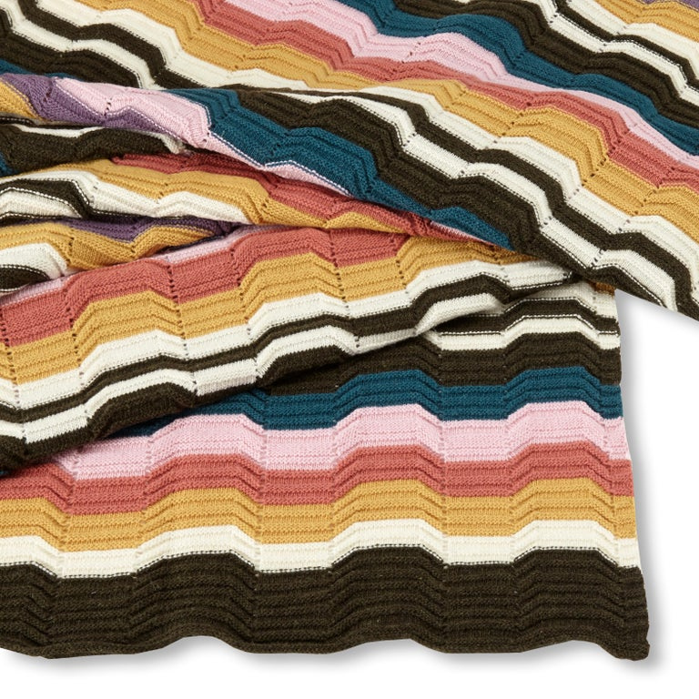 Modern MissoniHome Walton Hand Knotted Throw in Greek Key Pattern For Sale