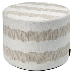 Missoni Home Wasiri Indoor & Outdoor Cylinder Pouf with Beige Greek Key Pattern