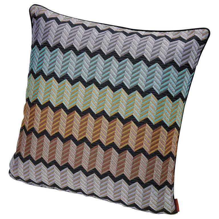 Missonihome Waterford Jewel-Tone Chevron Cushion with Stripes For Sale