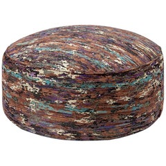 Missoni Home Waterloo Pallina Jacquard Flame Pouf in Earth Tones