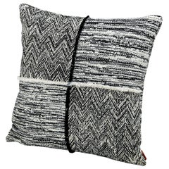 MissoniHome Wattens Patchwork Cushion with Black and White Pattern