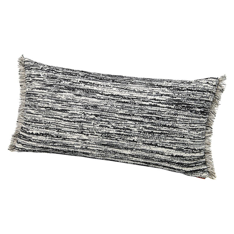 MissoniHome Wattens Yarn-Dyed Flame Stitch Cushion in Black and White For Sale