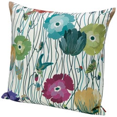 MissoniHome Waya Small Indoor and Outdoor Cushion with Floral Poppy Pattern