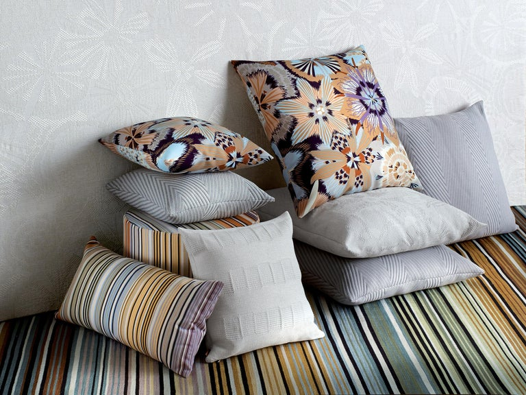 Modern Missonihome Weda Indoor and Outdoor Cushion with Greek Key Pattern For Sale