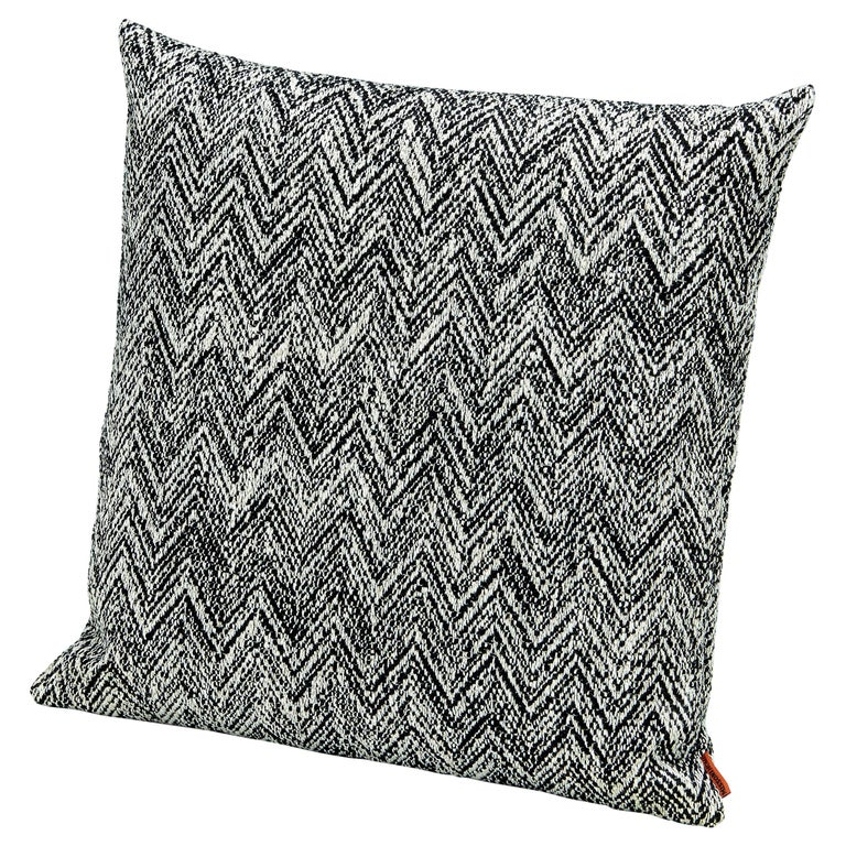 MissoniHome Weltenburg Chevron Cushion in Black and White For Sale