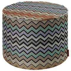 Missoni Home Westmeath Chevron Cylinder Pouf in Earth Tones with Gold Lurex