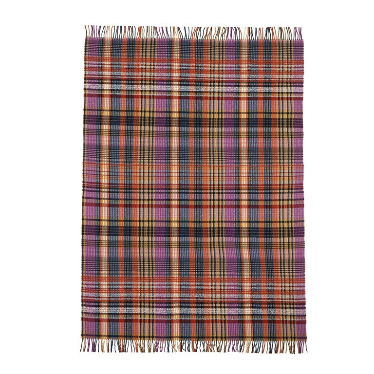 MissoniHome Whitaker Wool Plaid Striped Throw with Fringe For Sale