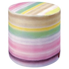 Missonihome Whitby Watercolor Ombré Cylinder Pouf on Linen Canvas