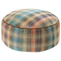MissoniHome Whittier Pallina Crushed Velvet Pouf in Plaid