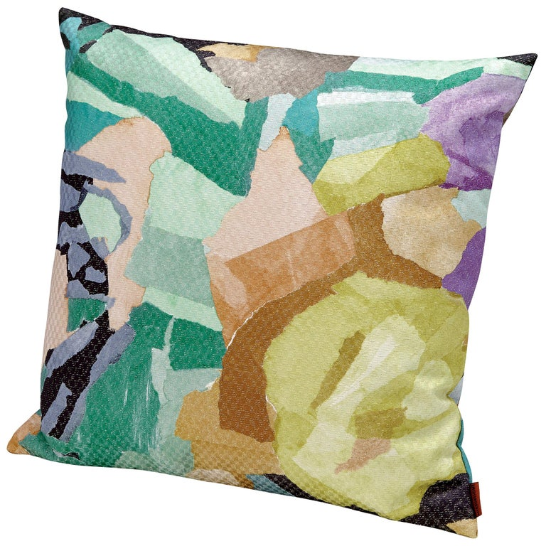 Missoni Home Wicklow Small Cushion with Floral Motif and Gold Lurex For Sale