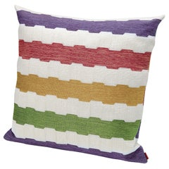 MissoniHome Wien Indoor & Outdoor Cushion with Multicolored Greek Key Pattern