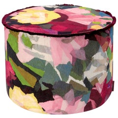 Missoni Home Wight Crushed Velvet Cylinder Pouf with Flower Motif