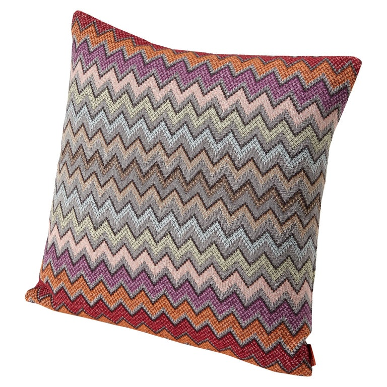 MissoniHome William Chevron Cushion in Pink and Gray For Sale