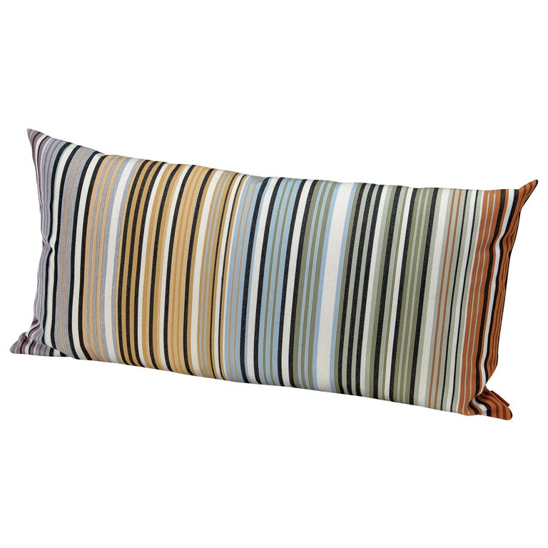 MissoniHome Windhoek Indoor and Outdoor Multicolored Stripe Cushion For Sale