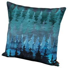 MissoniHome Winterthur Small Satin Watercolor Cushion with Forest Motif