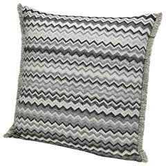 Missoni Home Wipptal Large Chevron Cushion in Black and White with Fringe