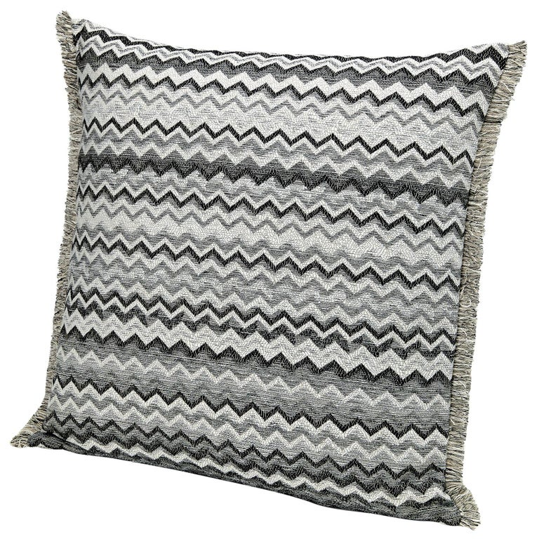 Missonihome Wipptal Large Chevron Cushion in Black and White with Fringe For Sale
