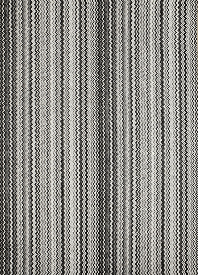 Modern MissoniHome Wipptal Small Chevron Cushion in Black and White with Fringe For Sale