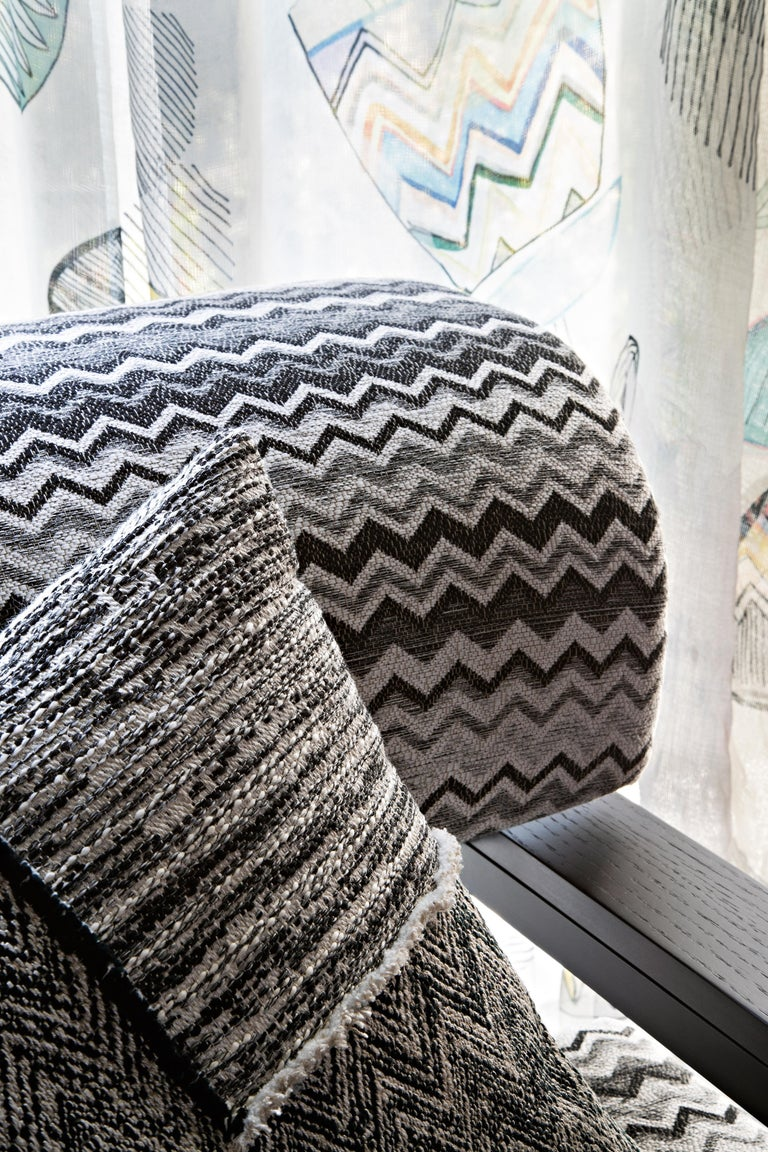 Italian MissoniHome Wipptal Small Chevron Cushion in Black and White with Fringe For Sale