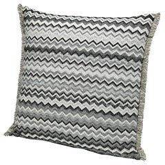 MissoniHome Wipptal Small Chevron Cushion in Black and White with Fringe