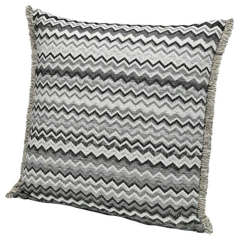 MissoniHome Wipptal Small Chevron Cushion in Black and White with Fringe For Sale