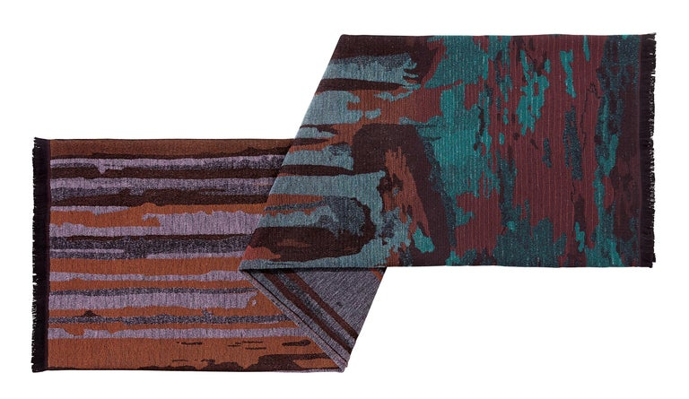 MissoniHome's woven, earth-toned forest landscape is enlarged throughout throw with fringed edges; size 59x75 inches. Presented in a branded MissoniHome box.