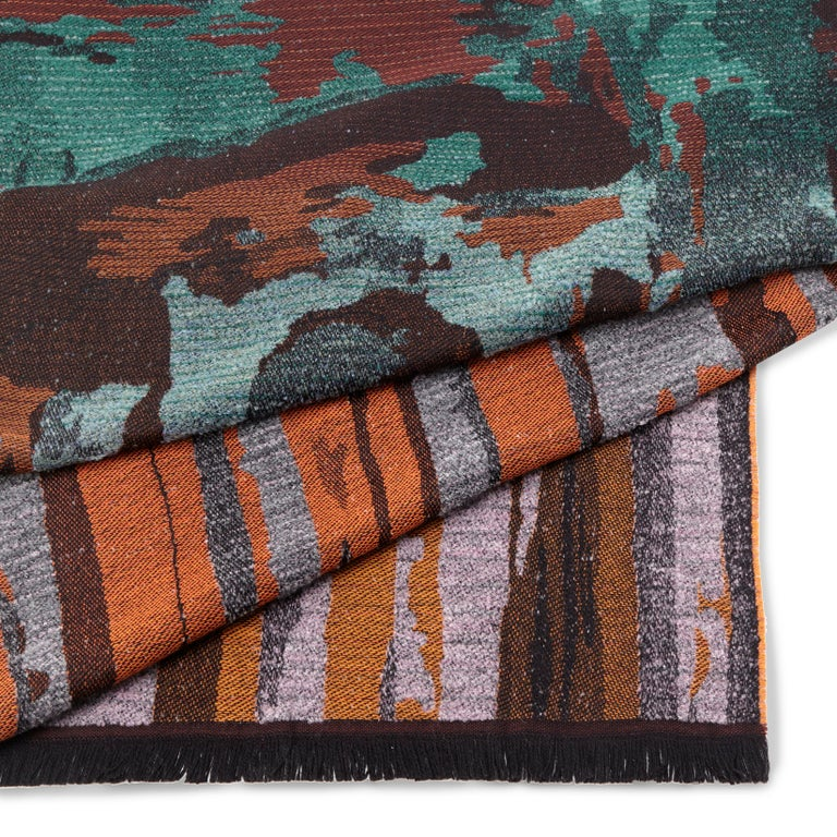 Modern Missonihome Woodrow Woven Earth-Toned Throw with Forest Motif For Sale