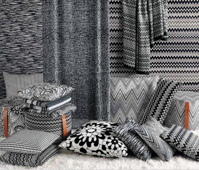 Italian MissoniHome Zermatt Cushion with Black and White Flame Stitch Pattern For Sale