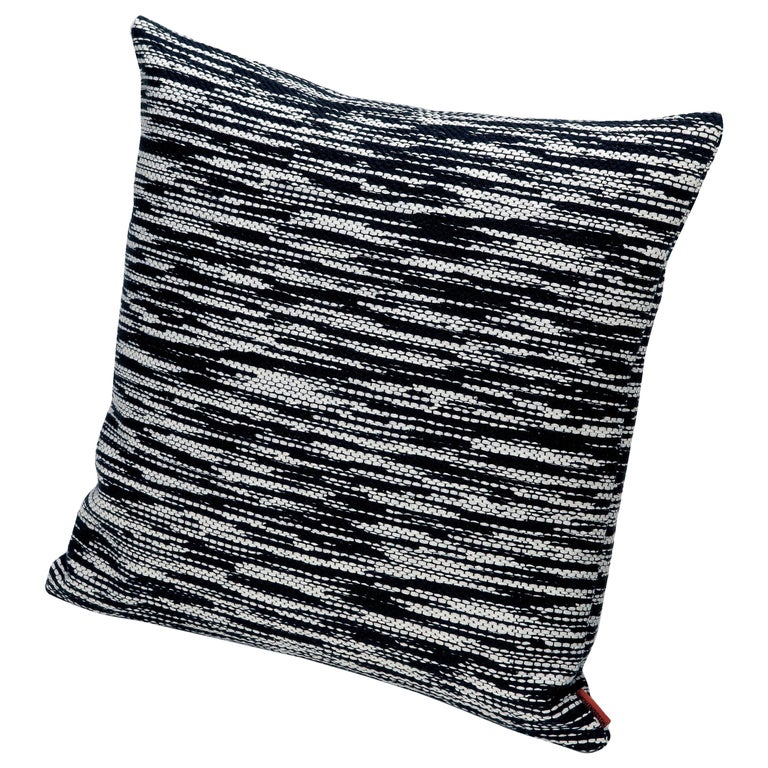 MissoniHome Zermatt Cushion with Black and White Flame Stitch Pattern For Sale