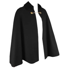 Mister Carnaby Men's Vintage 1960s Black Wool Velvet Collar Cloak / Cape Coat