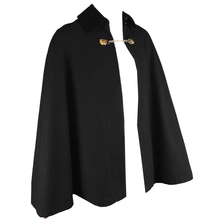 Mister Carnaby Men's Vintage 1960s Black Wool Velvet Collar Cloak / Cape Coat