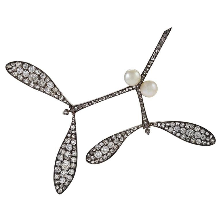 Mistletoe Brooch Attributed to Vever for Lalique For Sale