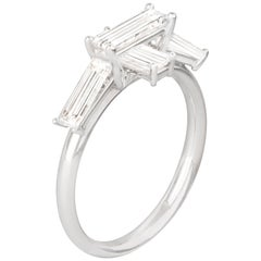 Misui 1 Carat Baguette White Diamonds Platinum Ring
