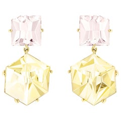 Misui 18 Karat Gold Earrings with 4 Carat Morganite and 10 Carat Golden Beryl