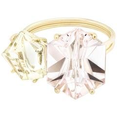 Misui 18 Karat Gold Ring with 5.5 Carat Morganite and 2 Carat Golden Beryl