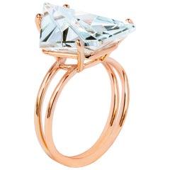 Misui 18 Karat Rose Gold 5.5 Carat Aquamarine Gemstone Cocktail Ring