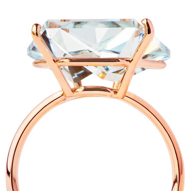 Contemporary Misui 18 Karat Rose Gold 5.5 Carat Aquamarine Gemstone Ring For Sale