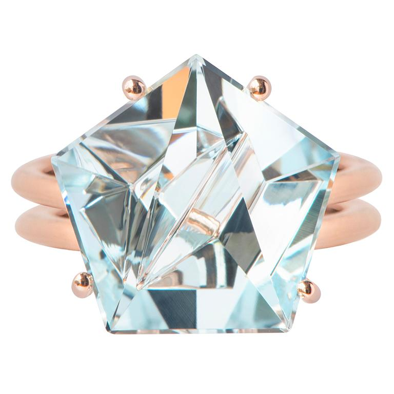 Cushion Cut Misui 18 Karat Rose Gold 5.5 Carat Aquamarine Gemstone Ring For Sale