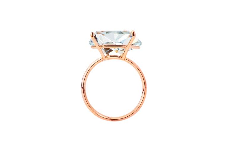 Misui 18 Karat Rose Gold 5.5 Carat Aquamarine Gemstone Ring In New Condition For Sale In Barcelona, ES