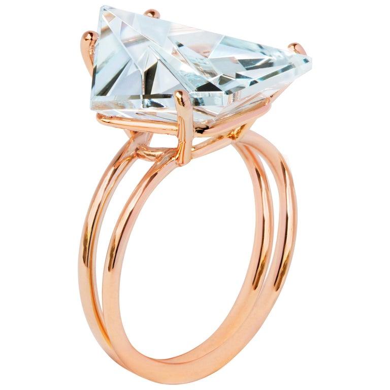 Misui 18 Karat Rose Gold 5.5 Carat Aquamarine Gemstone Ring For Sale