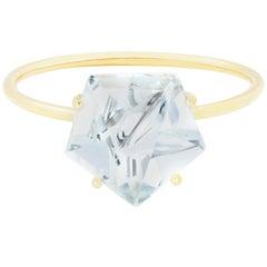 Misui 18 Karat Yellow Gold 2 Carat Aquamarine Gemstone Ring