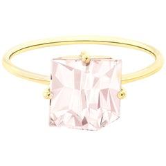 Misui 18 Karat Yellow Gold 2 Carat Pink Morganite Gemstone Cocktail Ring